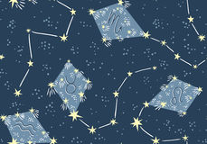 Seamless pattern with kites in the star sky. Vector night astrology fabric design. Stock Photo