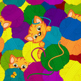 Seamless pattern with kitten and balls of yarn  Royalty Free Stock Photography