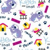 Seamless pattern,kitten and snail funny animal cartoon,vector illustration. Seamless pattern funny animal cartoon,vector illustration for t shirt and wallpaper vector illustration