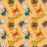 Seamless pattern - kittens Stock Images