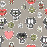 Seamless pattern with kittens Stock Photo
