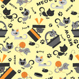 Seamless pattern with kittens stock illustration