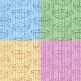 Seamless pattern with kittens in cups Royalty Free Stock Photography