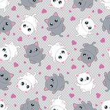 Seamless pattern with kittens on a gray background. Lovely, little kittens on a gray background surrounded by hearts. Seamless pattern. Suitable for fabric stock illustration