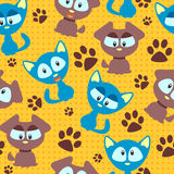 Seamless pattern with kittens and puppies Royalty Free Stock Photos
