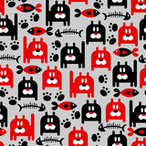 Seamless pattern with kitties Stock Images