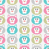 Seamless pattern with kitty faces Royalty Free Stock Photo
