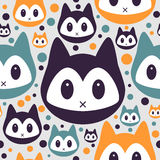 Seamless pattern with kitty faces Stock Images