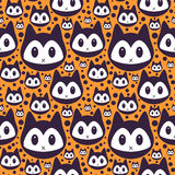 Seamless pattern with kitty faces Stock Photography