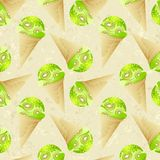 Seamless pattern with kiwi ice cream Royalty Free Stock Photo
