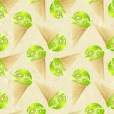 Seamless pattern with kiwi ice cream Royalty Free Stock Photo