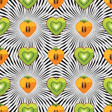 Seamless pattern of kiwi, persimmon in Heart with  Stock Images