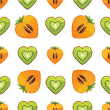 Seamless pattern of kiwi, persimmon in Heart Stock Photo
