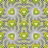 Seamless pattern of kiwi, persimmon in Heart Royalty Free Stock Photo