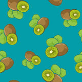 Seamless Pattern , Kiwifruit on Azure Background. Seamless Pattern of Kiwifruit , Fruit Kiwi on Azure Background, Vector Illustration Stock Photo