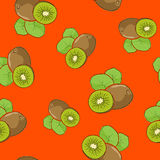 Seamless Pattern , Kiwifruit on Orange Background. Seamless Pattern of Kiwifruit , Fruit Kiwi on Orange Background, Vector Illustration Stock Photo