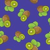 Seamless Pattern , Kiwifruit on Purple Background Royalty Free Stock Image