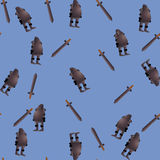 Seamless pattern with knight and sword Royalty Free Stock Images