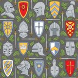 Seamless pattern with knightly helmets and shields Stock Photos
