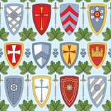 Seamless pattern with knightly shields Royalty Free Stock Image