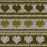 Seamless pattern with knitted hearts and stripes Royalty Free Stock Photography