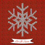 Seamless pattern with knitted snowflake Royalty Free Stock Photo