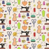 Seamless pattern of knitting, sewing and needlework icons. stock illustration