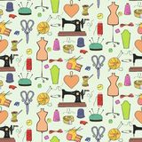 Seamless pattern of knitting, sewing and needlework  icons. Seamless pattern of knitting, sewing and needlework colorful icons on the light background Stock Photos