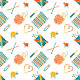 Seamless pattern on a knitting theme, accessories. Vector seamless pattern on a knitting theme, knitting accessories Royalty Free Stock Image