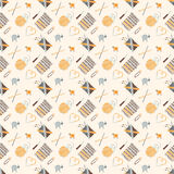 Seamless pattern on a knitting theme, accessories. Vector seamless pattern on a knitting theme in brown, knitting accessories Royalty Free Stock Photo