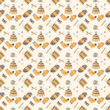 Seamless pattern on a knitting theme, brown things. Vector seamless pattern on a knitting theme in brown, knitted things Stock Photos