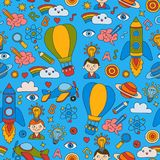 Seamless pattern Knowledge Imagination Fantasy Kids drawing style. Knowledge Imagination Fantasy Kids drawing style Creative education concept Kindergarten Royalty Free Stock Photo