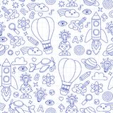 Seamless pattern Knowledge Imagination Fantasy Kids drawing style. Knowledge Imagination Fantasy Kids drawing style Creative education concept Kindergarten Royalty Free Stock Image