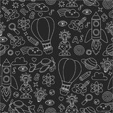 Seamless pattern Knowledge Imagination Fantasy Kids drawing style. Knowledge Imagination Fantasy Kids drawing style Creative education concept Kindergarten Royalty Free Stock Photography