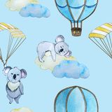 Seamless pattern. Koala flying. the balloon and the paraglider