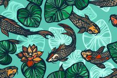 Seamless pattern with koi carp fish, flowers and leaves of the lotus. Pond. Background in the Chinese style. Hand drawn. Vector illustration stock illustration