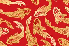 Seamless pattern with koi carp fish. Pond. Background in the Chinese style. Hand drawn. Vector illustration Royalty Free Stock Image