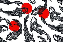 Seamless pattern with koi carp fish, spots. Pond. Background in the Chinese style. Hand drawn. Vector illustration stock illustration