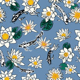 Seamless pattern with koi carp and flowers, lotus, water lily Royalty Free Stock Images