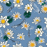 Seamless pattern with koi carp and flowers, lotus, water lily Stock Photo