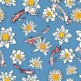 Seamless pattern with koi carp and flowers, lotus, water lily Stock Images