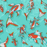 Seamless pattern with koi fishes. Seamless vector light blue background with hand drawn koi fishes, pattern for textile or wrap paper Royalty Free Stock Photography