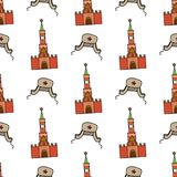 Seamless pattern with Kremlin and  hat with ear flaps. On white background. Vector illustration Royalty Free Stock Image