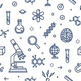 Seamless pattern with laboratory equipment, attributes of science, scientific experiment, research drawn with contour. Lines on white background. Monochrome stock illustration
