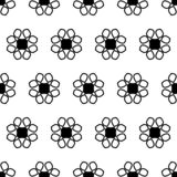 Seamless pattern with lace of black abstract flowers on white background royalty free illustration