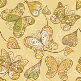 Seamless pattern with lace butterflies and leaves Royalty Free Stock Image