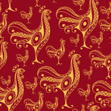 Seamless pattern with lace cock 25. Seamless texture (pattern) with cock (rooster) - symbol of 2017 (fire cock). Suitable for design: cloth, web, wallpaper Royalty Free Stock Image