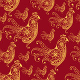 Seamless pattern with lace cock 26. Seamless texture (pattern) with cock (rooster) - symbol of 2017 (fire cock). Suitable for design: cloth, web, wallpaper Royalty Free Stock Image