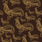 Seamless pattern with lace cock 48. Seamless texture (pattern) with cock (rooster) - symbol of 2017 (fire cock). Suitable for design: cloth, web, wallpaper Stock Photo