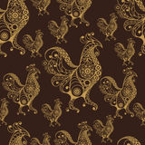 Seamless pattern with lace cock 47. Seamless texture (pattern) with cock (rooster) - symbol of 2017 (fire cock). Suitable for design: cloth, web, wallpaper Stock Images